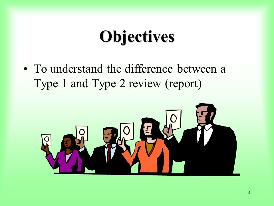 Objectives To understand the difference between a Type 1 and Type 2 review (report) Clear cut differences between the 2 types of reports.