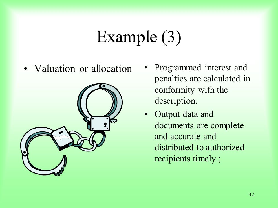 Example (3) Valuation or allocation
