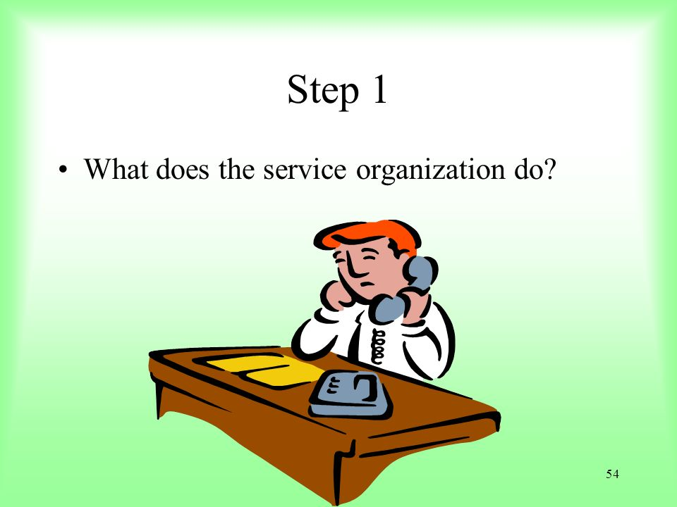 Step 1 What does the service organization do