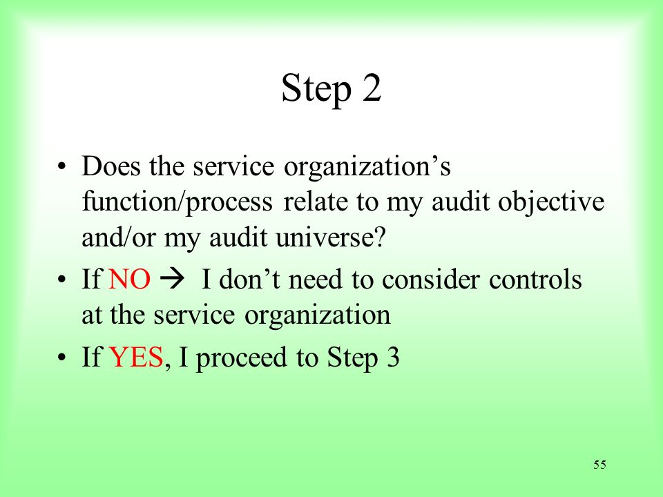 Step 2 Does the service organization's function/process relate to my audit objective and/or my audit universe
