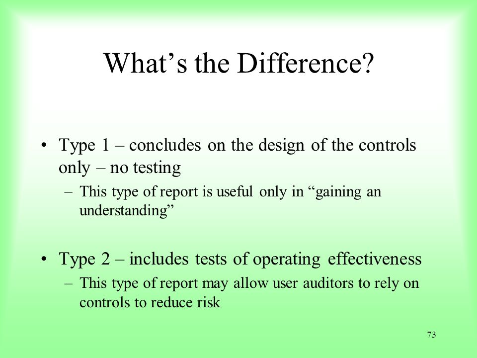 What's the Difference Type 1 – concludes on the design of the controls only – no testing.