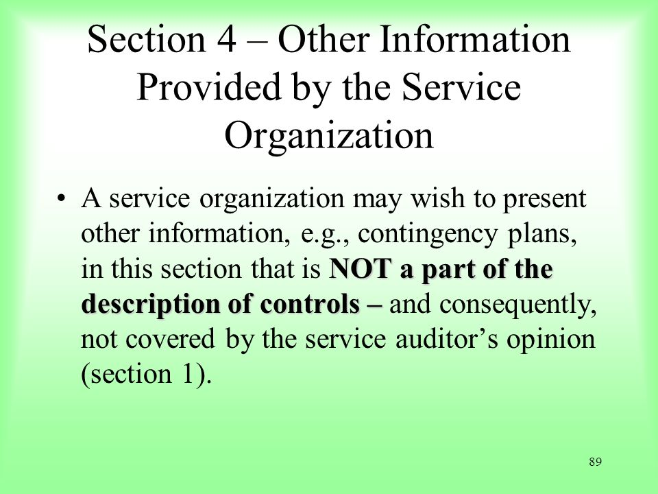 Section 4 – Other Information Provided by the Service Organization