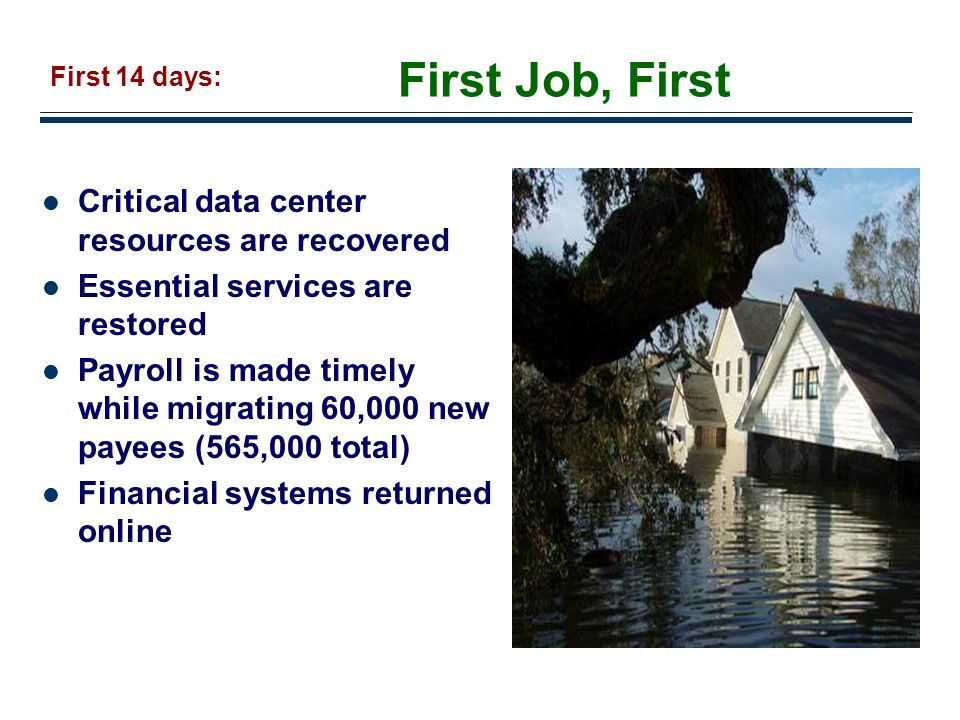 First Job, First Critical data center resources are recovered