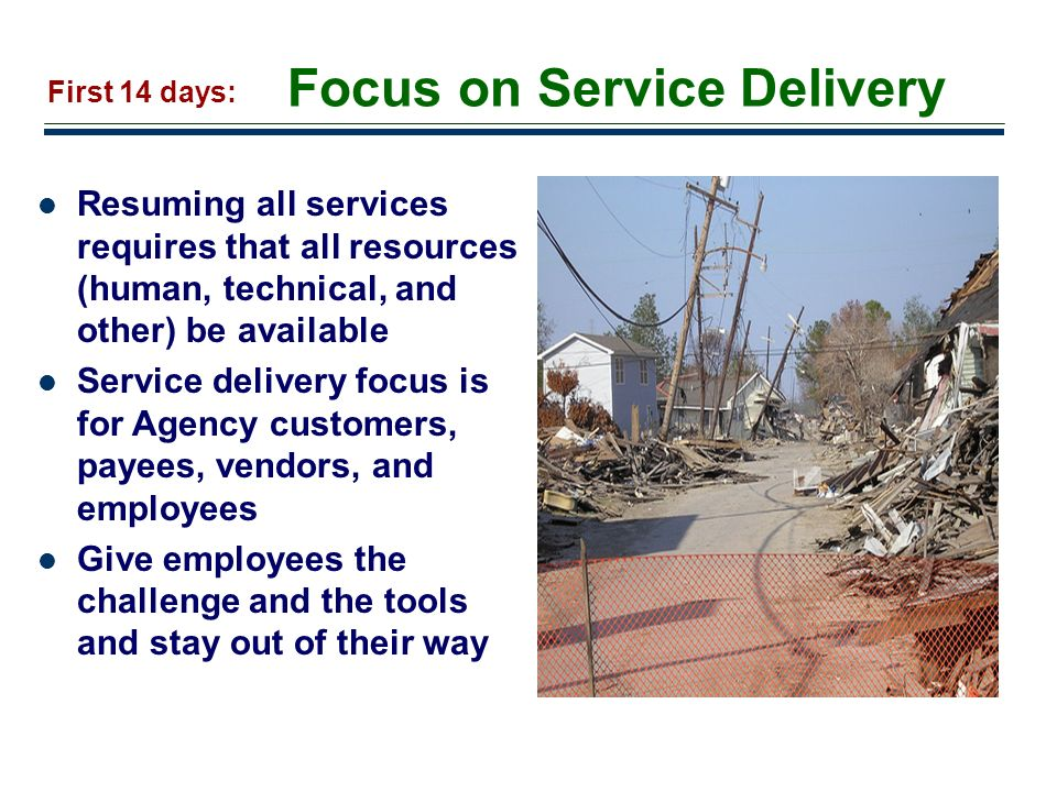 Focus on Service Delivery