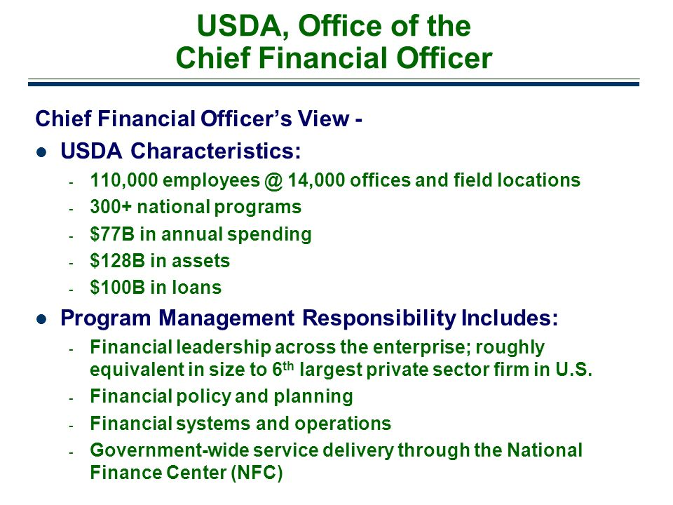 USDA, Office of the Chief Financial Officer