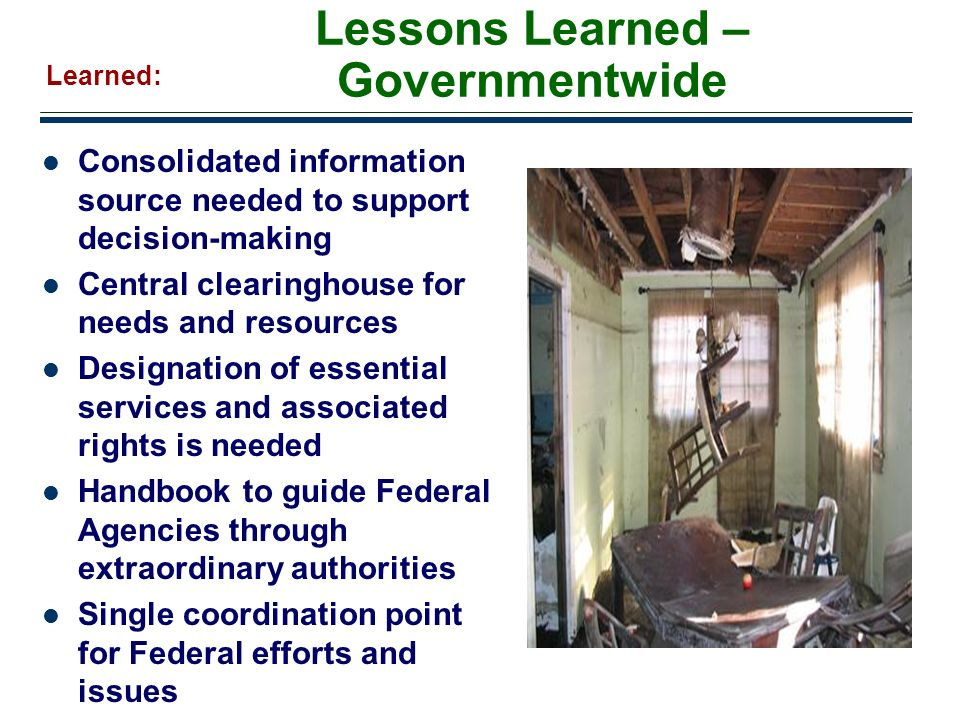 Lessons Learned – Governmentwide