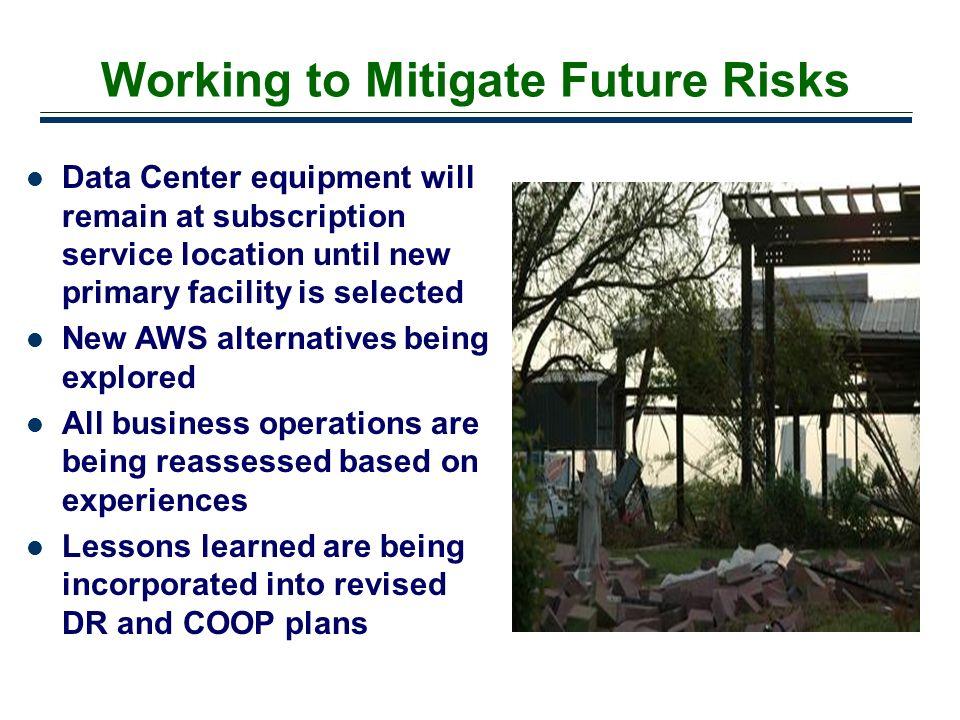 Working to Mitigate Future Risks