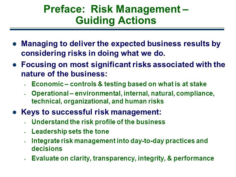 Preface: Risk Management – Guiding Actions