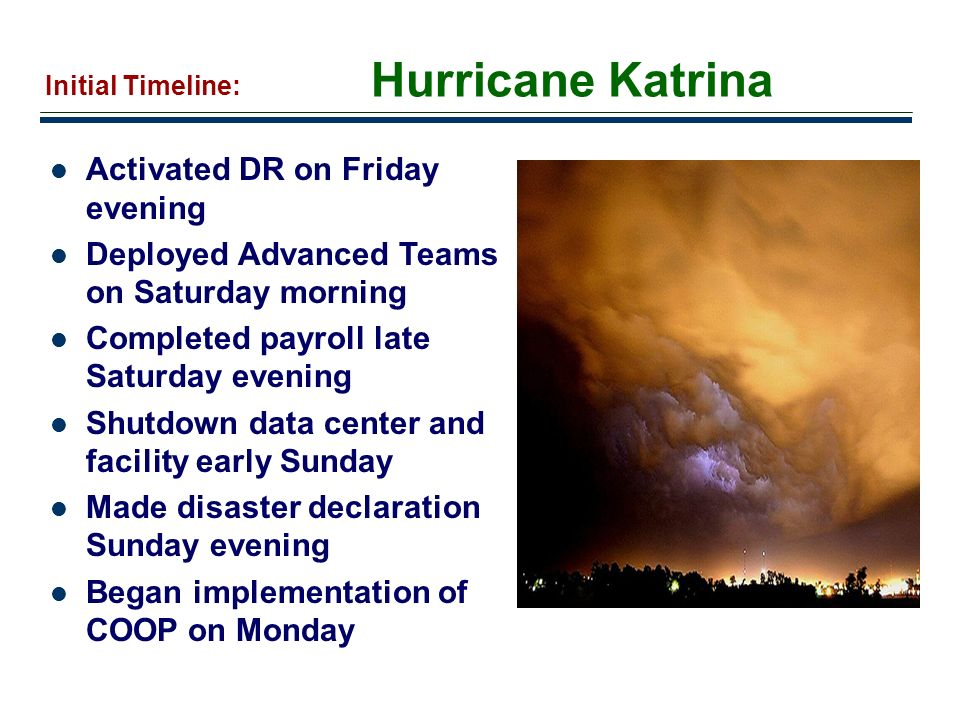 Hurricane Katrina Activated DR on Friday evening