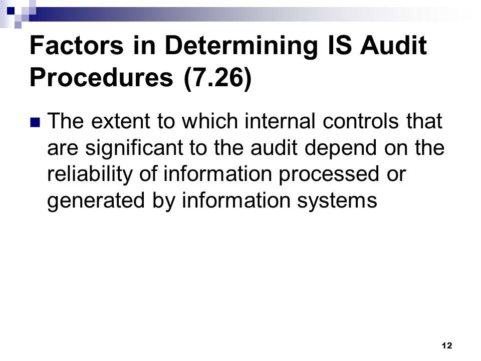 Factors in Determining IS Audit Procedures (7.26)