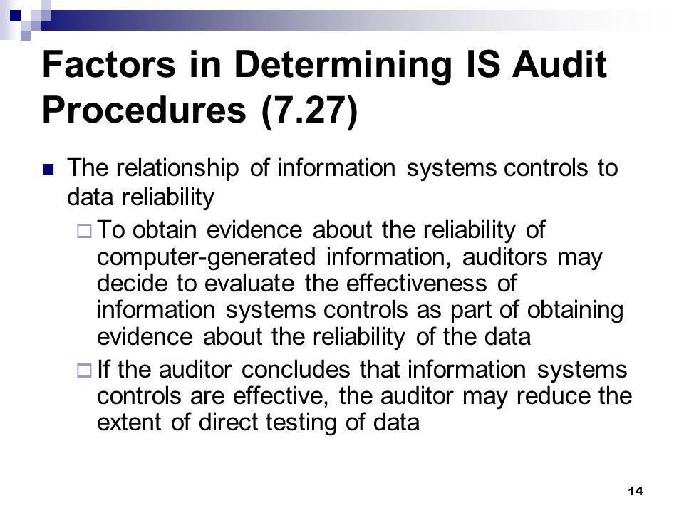 Factors in Determining IS Audit Procedures (7.27)