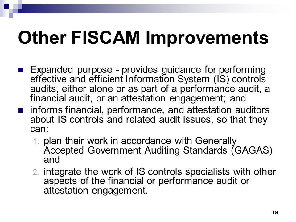 Other FISCAM Improvements