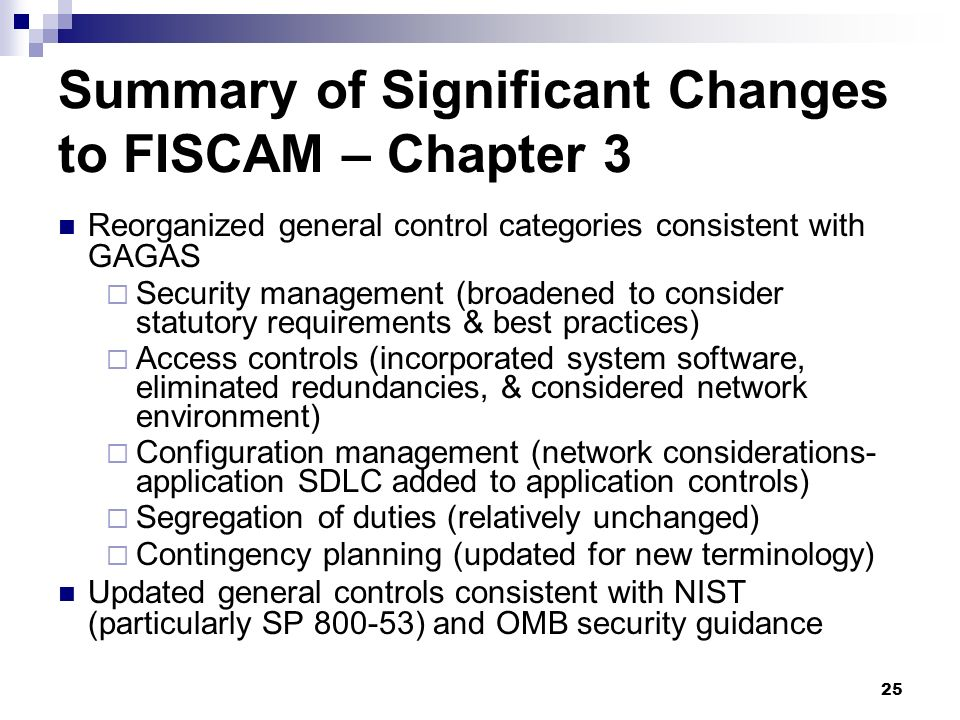 Summary of Significant Changes to FISCAM – Chapter 3