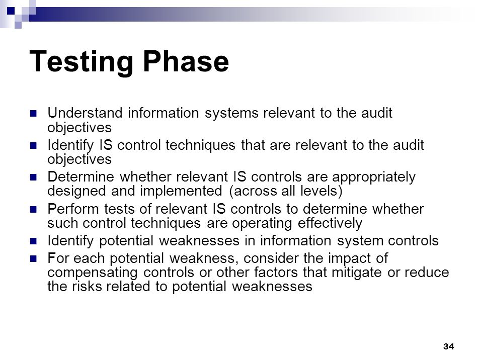 Testing Phase Understand information systems relevant to the audit objectives.