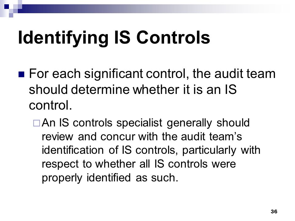 Identifying IS Controls