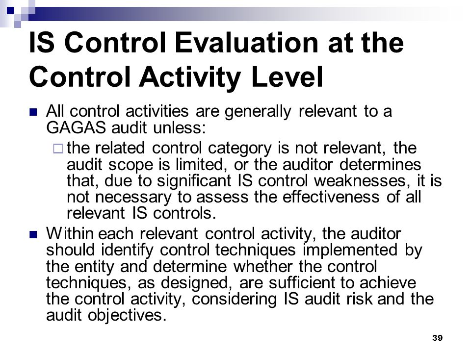 IS Control Evaluation at the Control Activity Level