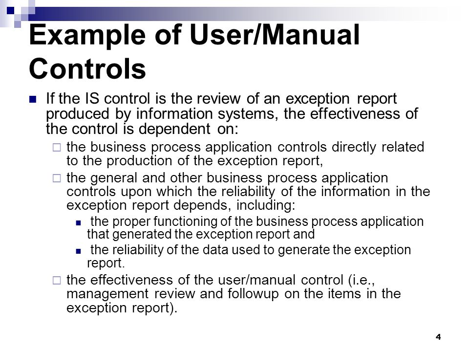 Example of User/Manual Controls