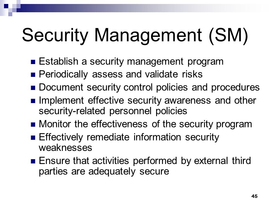 Security Management (SM)
