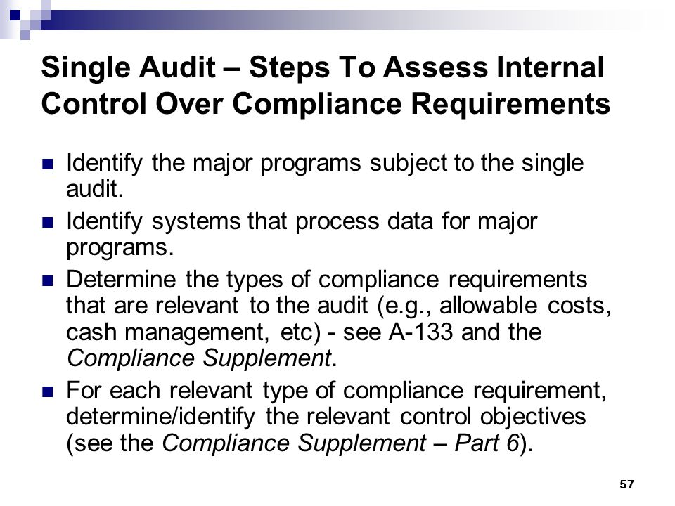 Single Audit – Steps To Assess Internal Control Over Compliance Requirements