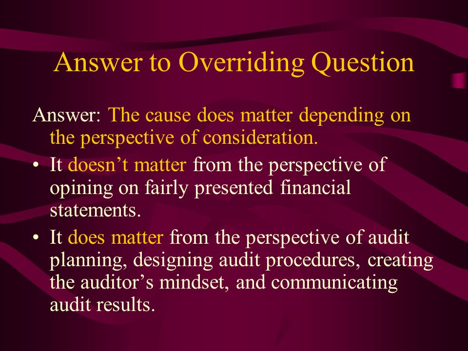 Answer to Overriding Question