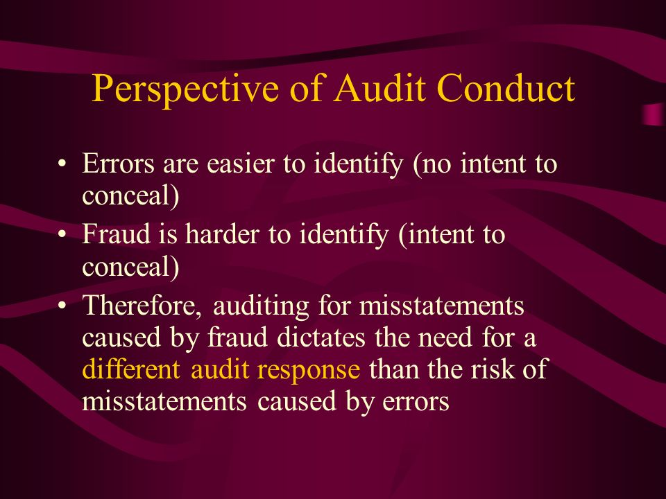 Perspective of Audit Conduct