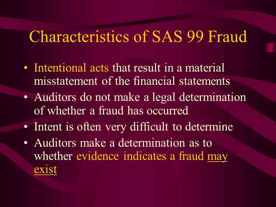 Characteristics of SAS 99 Fraud
