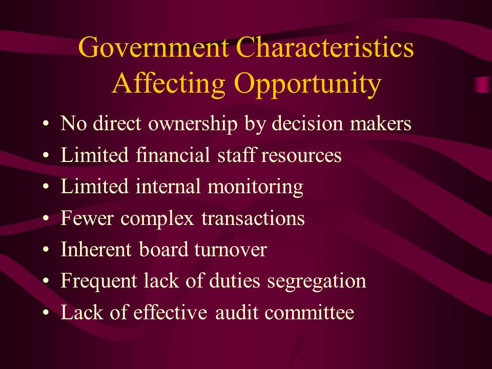 Government Characteristics Affecting Opportunity