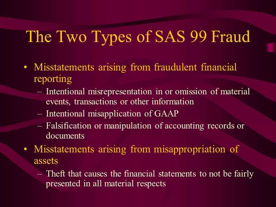 The Two Types of SAS 99 Fraud