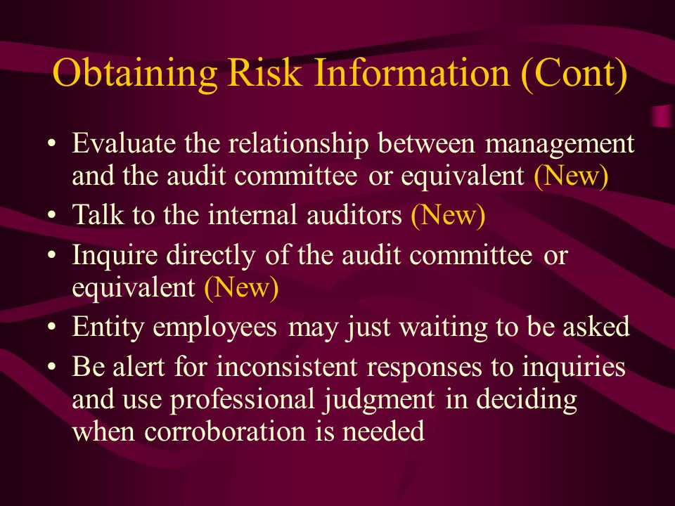 Obtaining Risk Information (Cont)