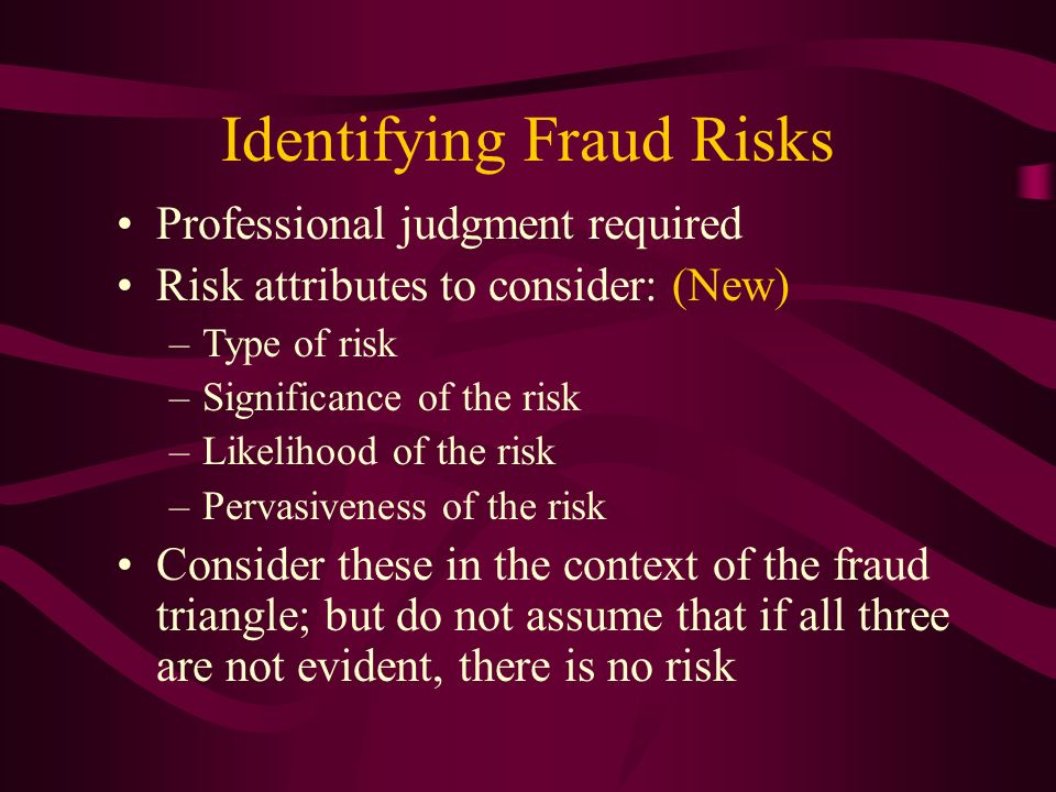 Identifying Fraud Risks