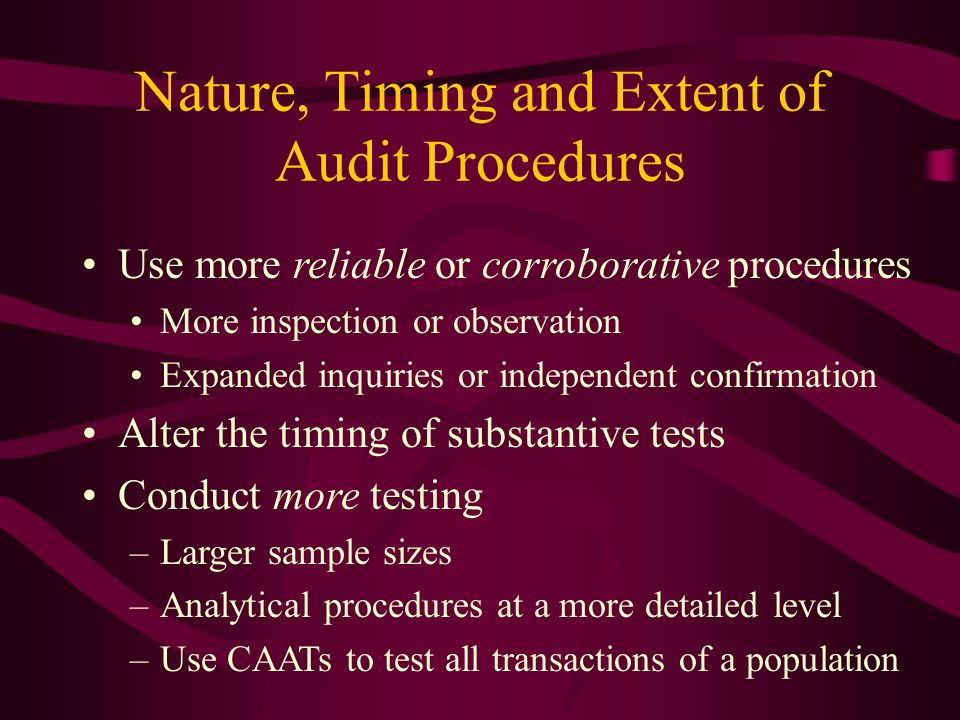 nature of audit Nature of audit testing means the type of testing, such as tests of internal controls, tests of transactions, or tests of balances in balance sheet accounts negative assurance a statement of what the cpa does not know as opposed to what the cpa believes (positive assurance).