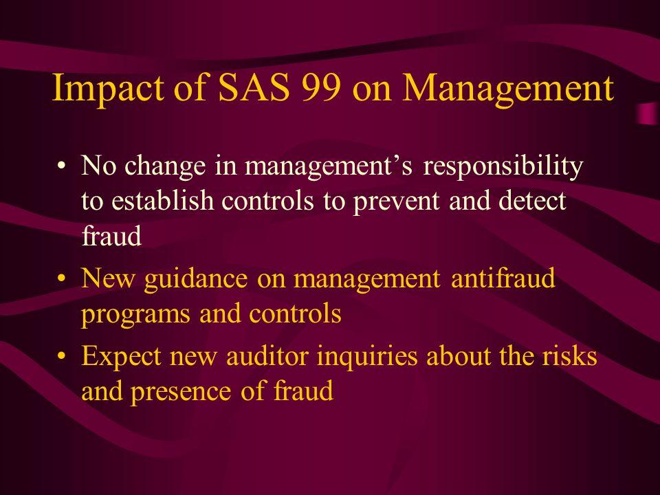 Impact of SAS 99 on Management