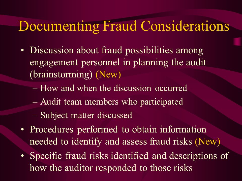 Documenting Fraud Considerations