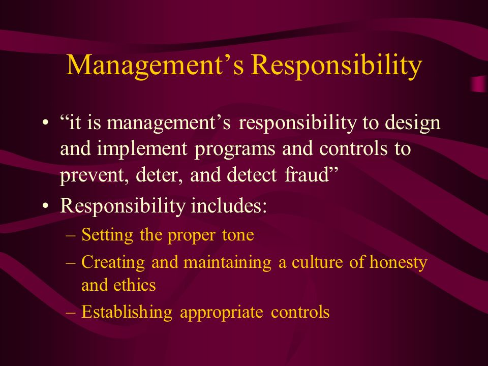 Management's Responsibility