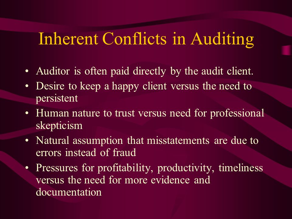 Inherent Conflicts in Auditing