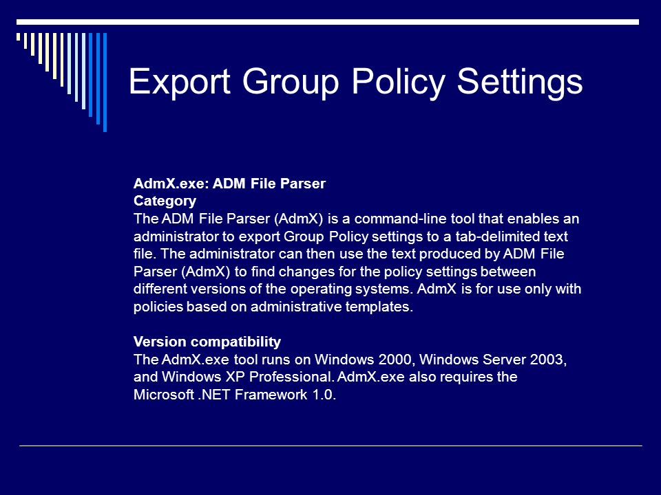 Export Group Policy Settings