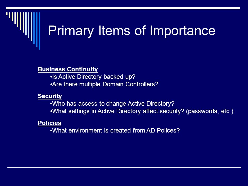Primary Items of Importance
