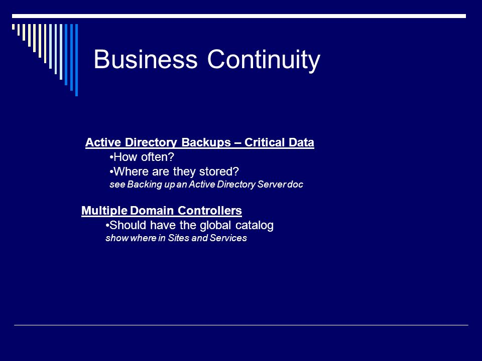 Business Continuity Active Directory Backups – Critical Data