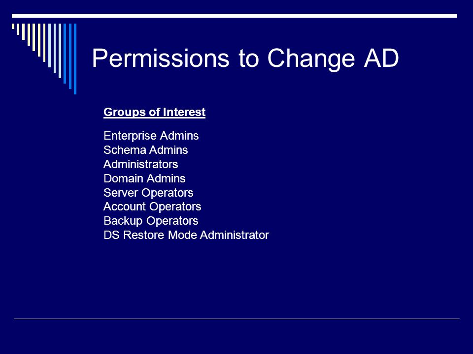 Permissions to Change AD