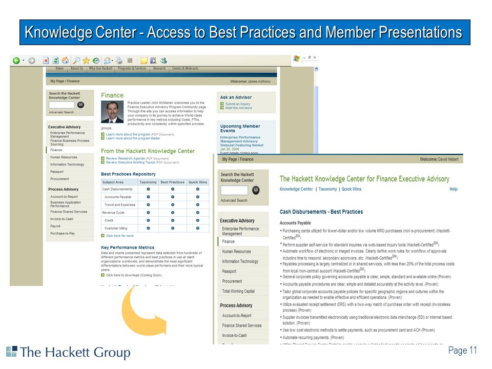 Knowledge Center - Access to Best Practices and Member Presentations