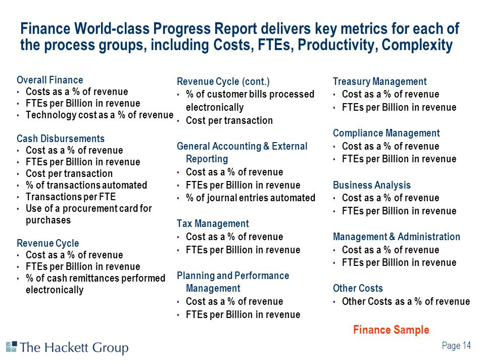 Finance World-class Progress Report delivers key metrics for each of the process groups, including Costs, FTEs, Productivity, Complexity