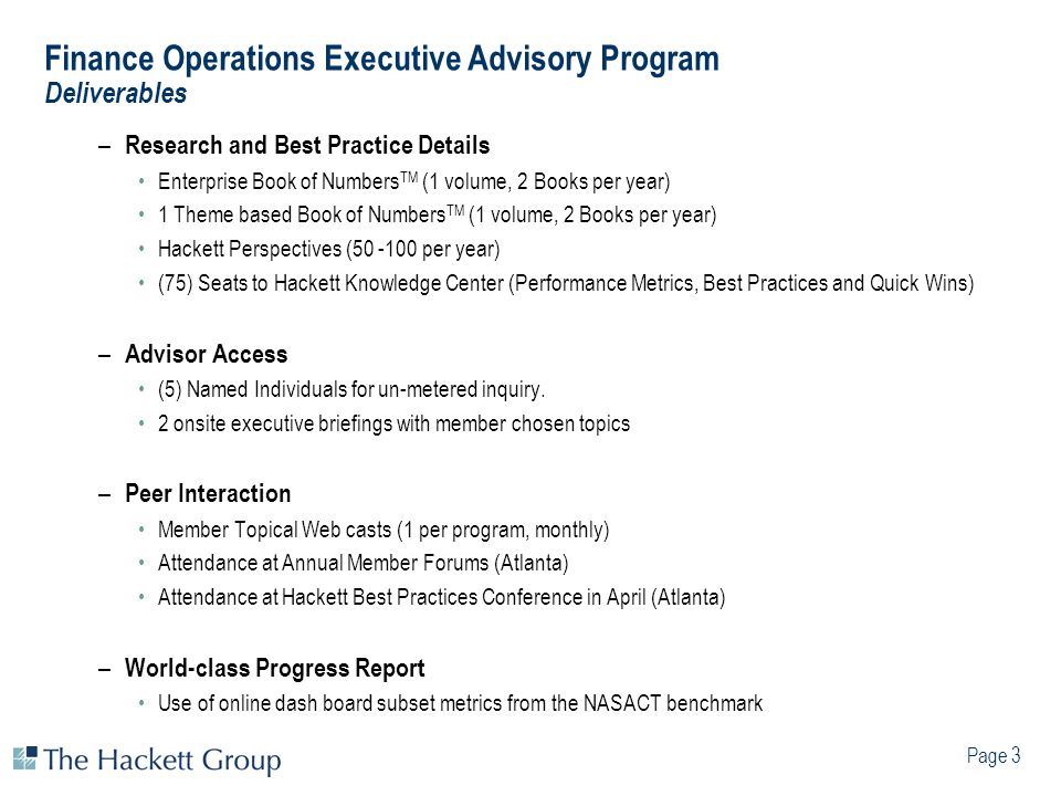 Finance Operations Executive Advisory Program Deliverables