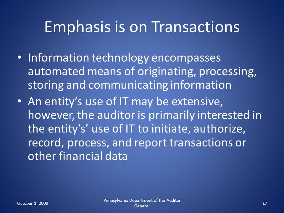 Emphasis is on Transactions