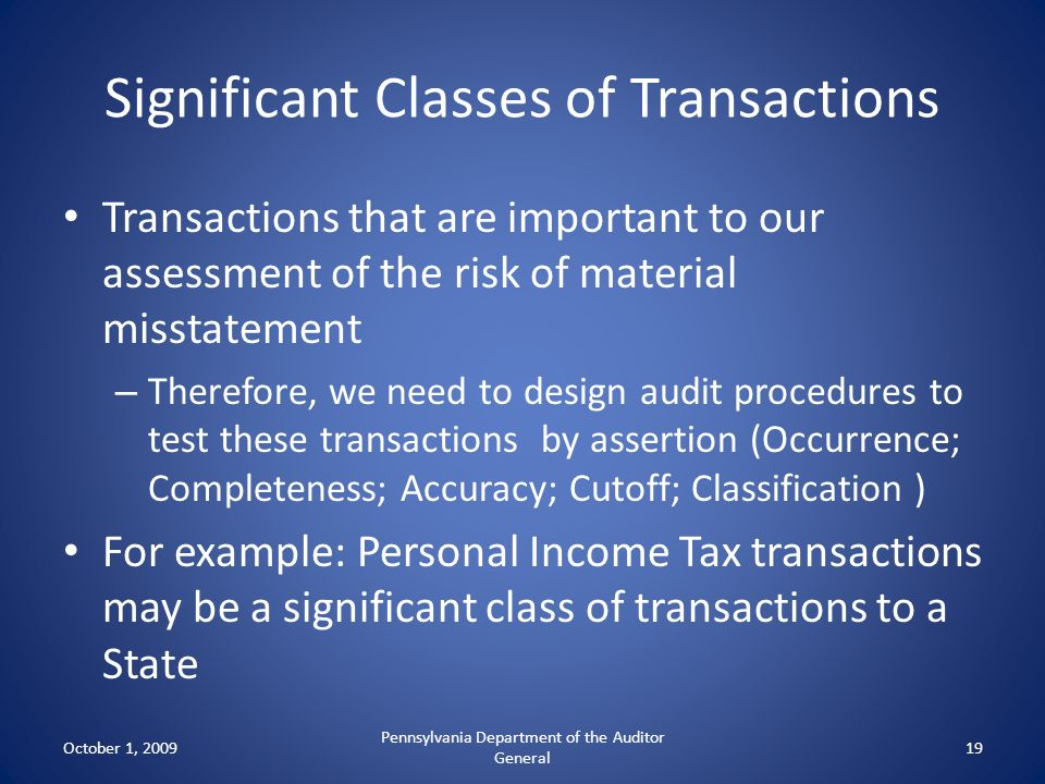Significant Classes of Transactions