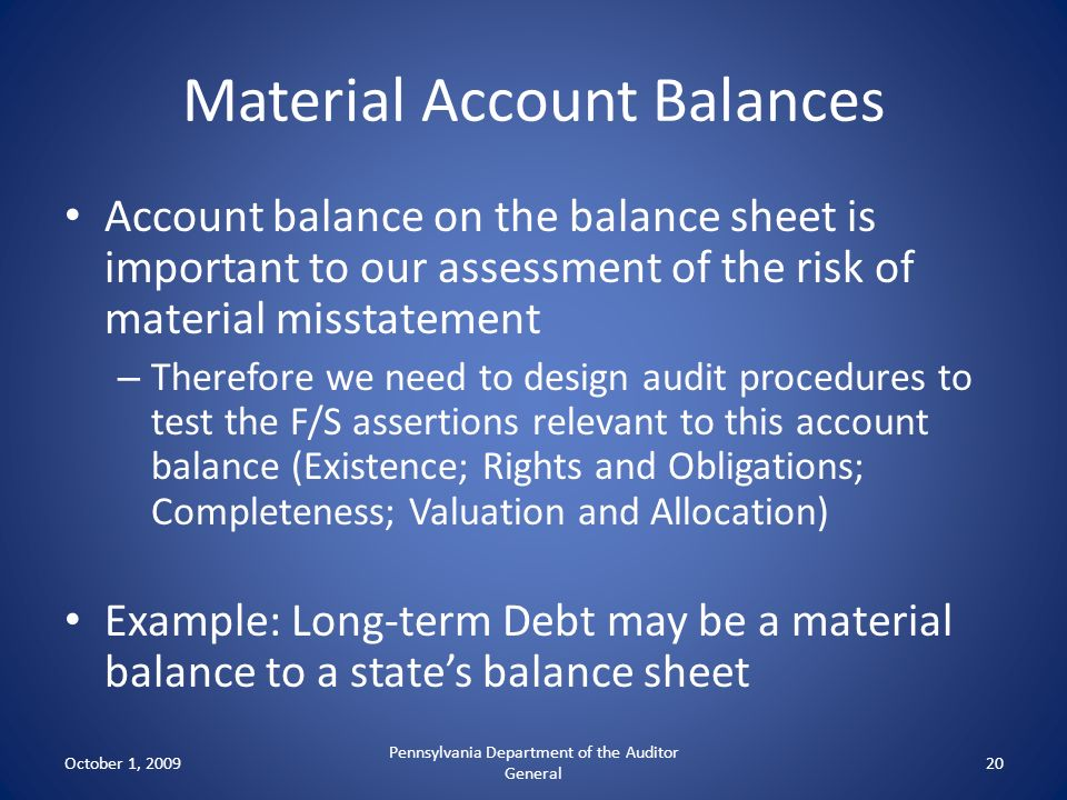Material Account Balances