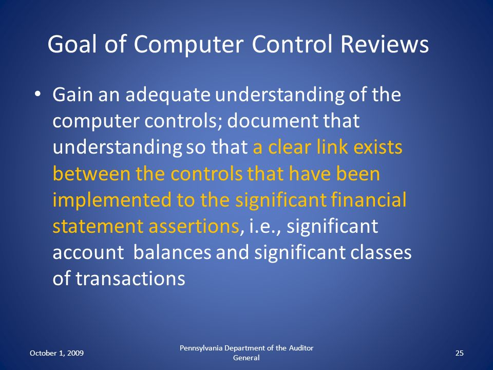 Goal of Computer Control Reviews