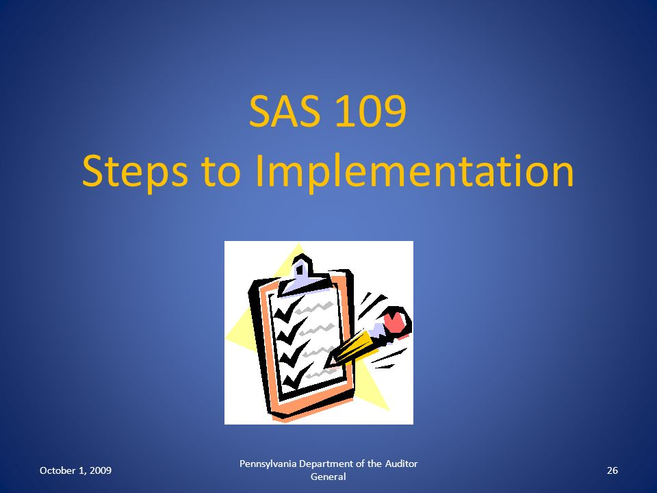 SAS 109 Steps to Implementation