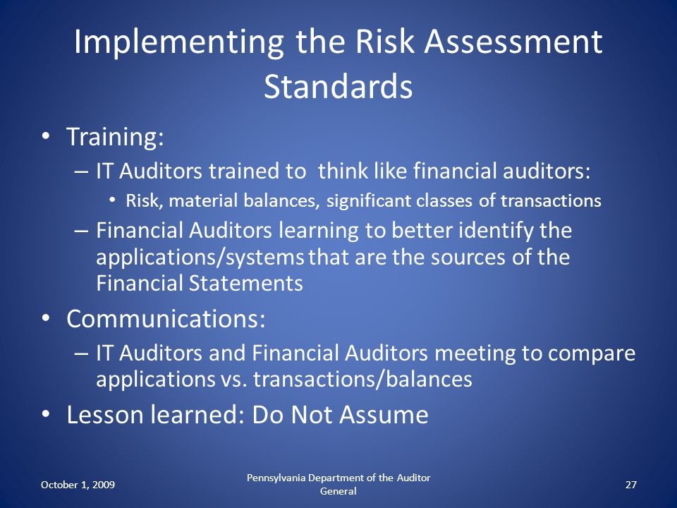 Implementing the Risk Assessment Standards