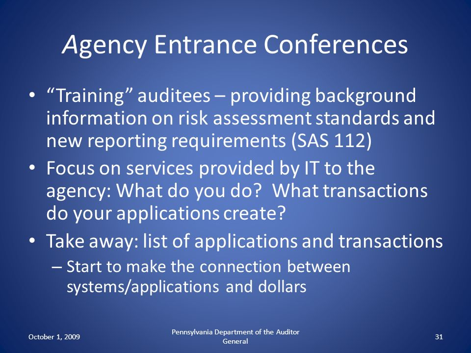 Agency Entrance Conferences