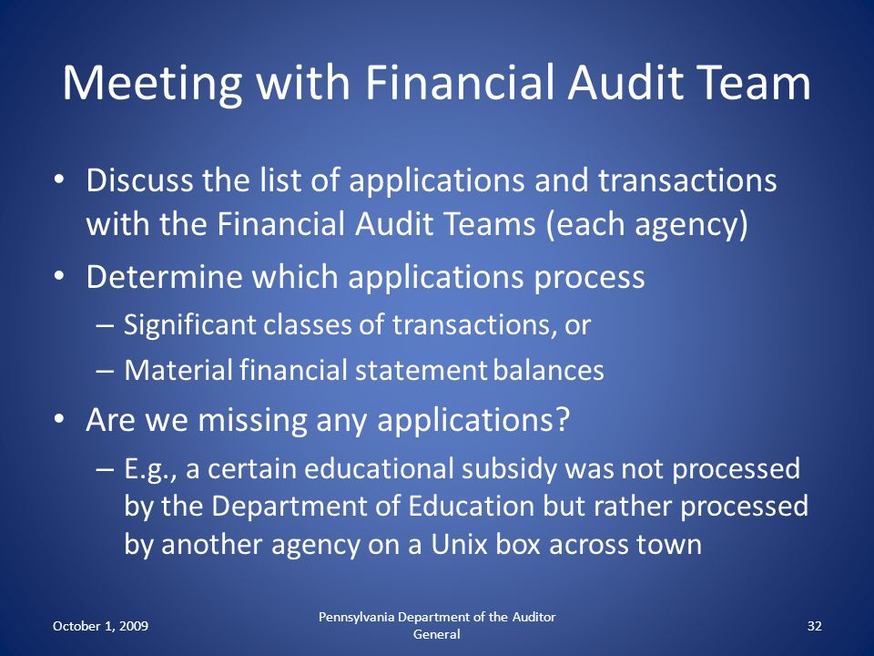 Meeting with Financial Audit Team